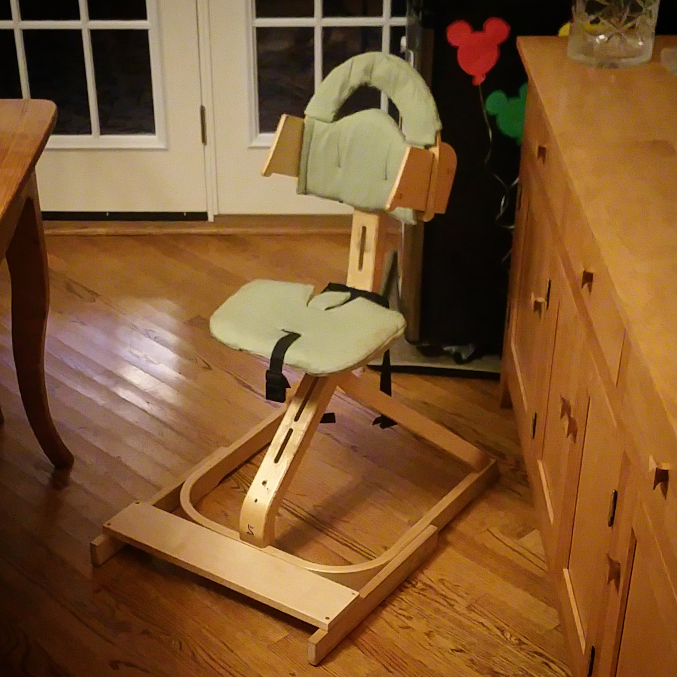 Modified Svan chair to that Noah can sit at the dinner table.